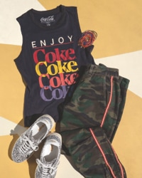 graphic muscle tank, camo joggers and fashion sneakers