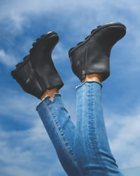 Black Sorel slide on wedges with blue jeans against a blue sky background
