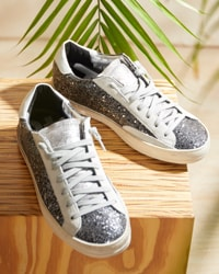White and light grey P448 sneakers with deails of dark grey glitter